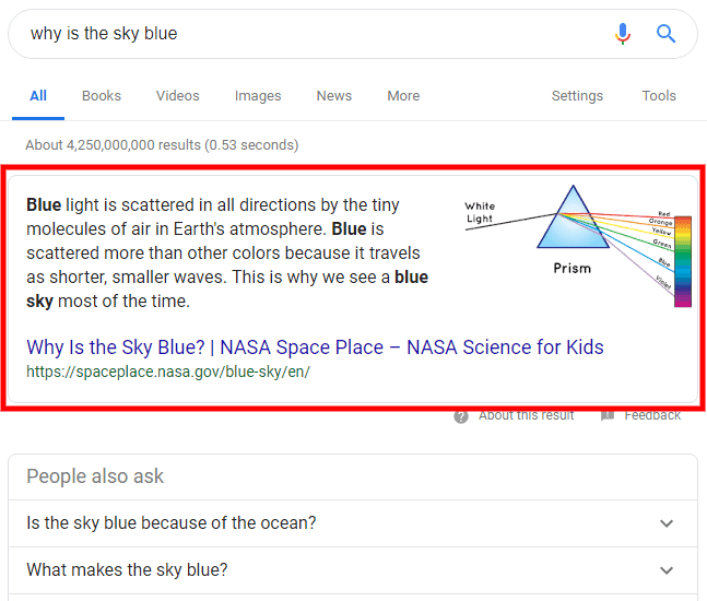 example of google featured snippet